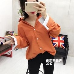 small dots - Panel Mock Two-piece Long-Sleeve Blouse
