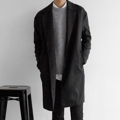 Seoul Homme - Camouflage-Trim Single-Breasted Coat
