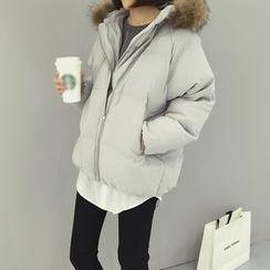 Karnel - 毛毛边连帽夹棉外套