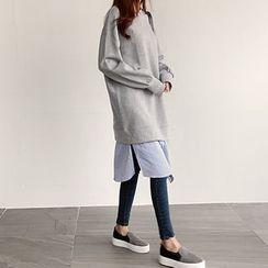 NIPONJJUYA - Inset Mock Striped Shirt Pullover Dress
