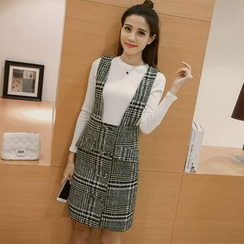Strawberry Moon - Set: Long-Sleeve T-Shirt + Buttoned Plaid Suspender Skirt