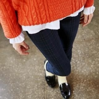 it's girl - Plaid-Pattern Corduroy Skinny Pants