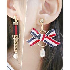 Miss21 Korea - Ribbon Asymmetric Dangle Earrings