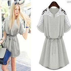 Persephone - Lace Shoulder Tie-Waist Short-Sleeve Dress