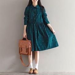 Dream Girl - Long-Sleeve Print A-line Shirtdress