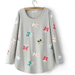 JVL - Long-Sleeve Rabbit-Print T-Shirt