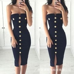 Dream a Dream - Buttoned Strapless Dress