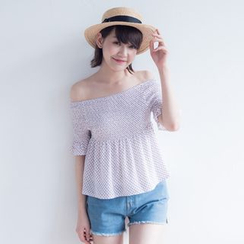 Tokyo Fashion - Off-Shoulder Printed Top