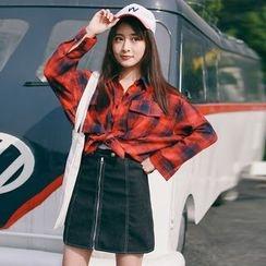 West Coast - Set: Plaid Shirt + A-line Skirt