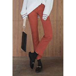 migunstyle - Frey-Hem Fleece-Lined Pants