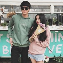 AJIEJIA - Couple Matching Letter Embroidered Hoodie