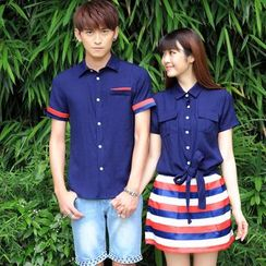 NoonSun - Couple Matching Short-Sleeve Color Block Shirt / Shirt + Skirt
