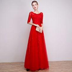 Loree - Elbow-Sleeve Lace Evening Dress