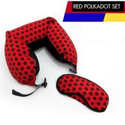 Vlashor - 红底黑点眼罩颈枕套