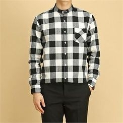 THE COVER - Mandarin-Collar Pocket-Front Checked Shirt