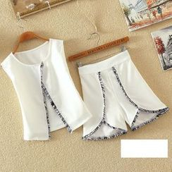 Clementine - Set: Fray Chiffon Vest + Shorts