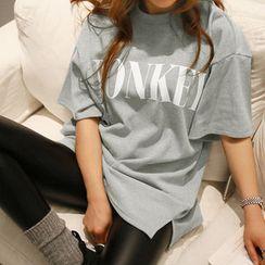 NANING9 - Short-Sleeve Lettering Print T-Shirt