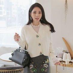 Seoul Fashion - Rhinestone-Button Cardigan