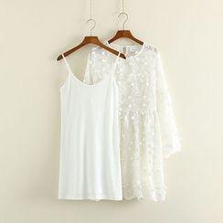 Mushi - Set: Slipdress + Floral Appliqué Long-Sleeve Dress