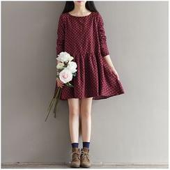 Snow Flower - 印花長袖連衣裙