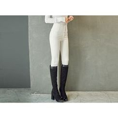 UUZONE - High-Waist Skinny Pants