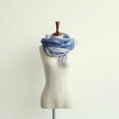 NANING9 - Linen Fringed Color-Block Scarf