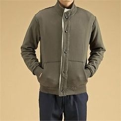 THE COVER - High-Neck Snap-Button Jacket