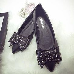 Zandy Shoes - Studded Bow-Accent Flats