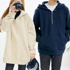Seoul Homme - Couple Hooded Brushed-Fleece Pullover