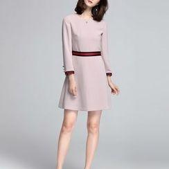 Sentubila - Striped Trim A-Line Dress
