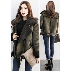 INSTYLEFIT - Funnel-Neck Belted Faux-Shearling Jacket
