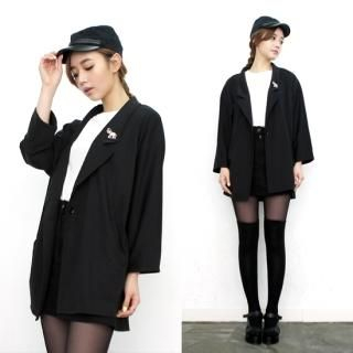 miss panda - Single-Button Boyfriend Jacket