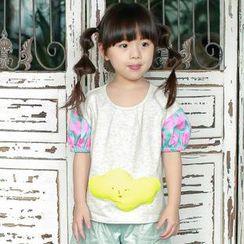 柠檬嘟嘟 - 小童泡泡袖拼接上衣