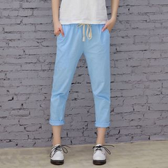 Heybabe - Cropped Drawstring Pants
