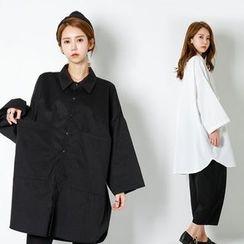 FASHION DIVA - Dual-Pocket Oversized Shirtdress