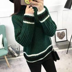 Asally - 條紋邊粗針織毛衣