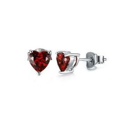 BELEC - 925 Sterling Silver with Natural Garnet Heart-shaped Stud Earrings