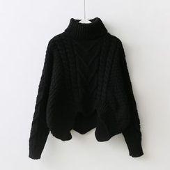 Sakunini - Turtleneck Cable Knit Sweater
