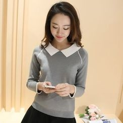 chic n' fab - Contrast Trim Collared Sweater