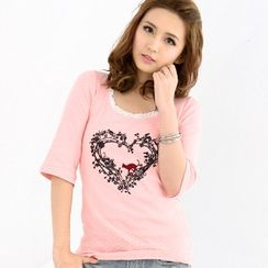 prischu essentials - Heart Print Top