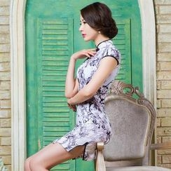 Miss Four Qipao - Contrast Trim Floral Print Cheongsam