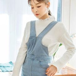 chuu - Fray-Hem Washed Denim Jumper Pants