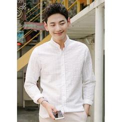 JOGUNSHOP - Mandarin-Collar Long-Sleeve Shirt
