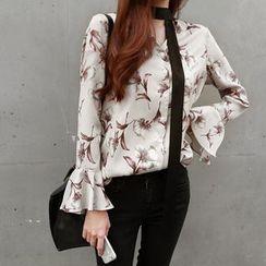 NIPONJJUYA - Ruffle-Cuff Floral Pattern Blouse with Scarf