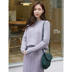 FROMBEGINNING - Set: Mock-Neck Sweater + Cable Knit Skirt