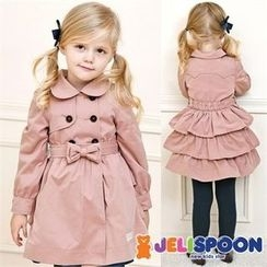JELISPOON - Kids Double-Breasted Ruffled Trench Coat