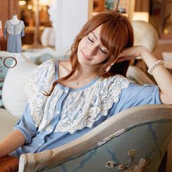 Tokyo Fashion - Tab-Sleeve Lace-Overlay Cardigan