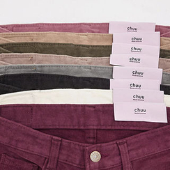chuu - Brushed-Fleece Lined Colored Skinny Pants