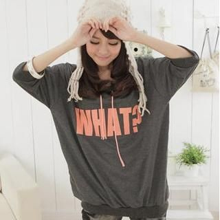 LULUS - 'WHAT?' Hooded Pullover