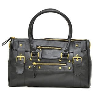 19th Street - Faux-Leather Bear-Accent Satchel